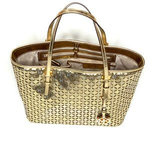Michael Kors Perforated Gold Flower Travel Tote